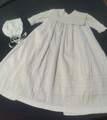 Vintage Pure Silk Christening Gown Dress & matching Bonnet by Delicate Elegance