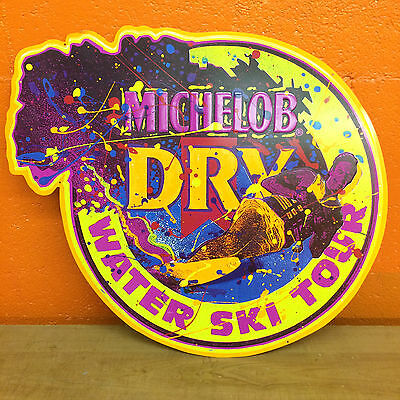 Michelob Dry - Water Ski Tour - Vintage Tin Sign - Yellow and Purple psychedelic