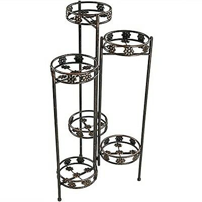 Metal Plant Stand 6-Tiered Folding Flower Holder Garden Pot Shelf Display Tall