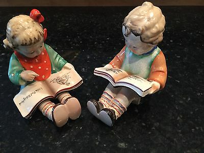 Vintage BOOKENDS Little Boy & Girl Reading Books Made In Japan ~ Young Children