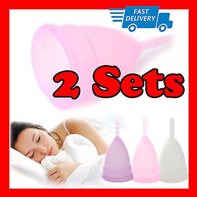 2 Sets Menstrual Period Moon Cups Soft Medical Silicone Tampon Pads Replacement