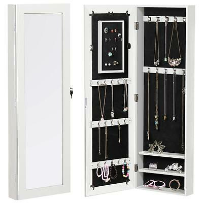 White Mirror Jewellery Storage Organiser Cabinet Wood Accessory Door Wall Stand