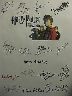 Harry Potter and the Chamber of Secrets Signed Script x17 Daniel Radcliffe repnt