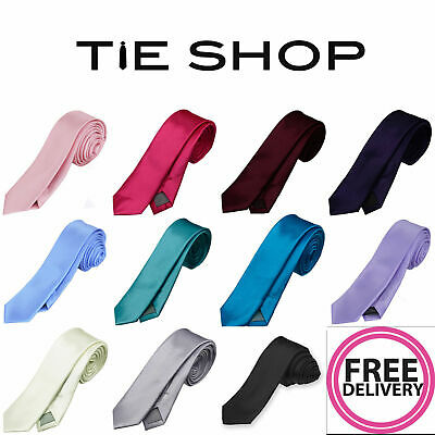 TIESHOP Premium Solid Plain Men's Skinny 5cm Tie Perfect for All Occasion