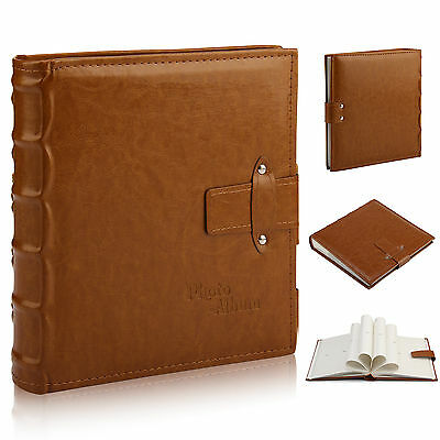 "6x4"" 200 Photos Large Leather Slip in Photo Album Brown Vintage Memo Book"