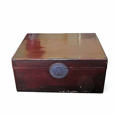Large 223L Antique Chinese Leather Trunk 87x64x40cm Storage Box