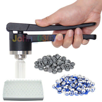 20 mm FLIP-OFF Vial Crimper Manual Sealer + 100 Sets of  Vials & Caps &  Stopper