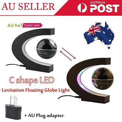 C Shape LED World Map Magnetic Levitation Floating Globe Light Decoration Gifts