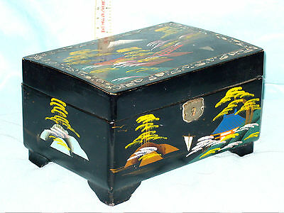 Old Hand Painted Japanese Lacquered Musical Jewelery Box With Mop Inlay Nice Con