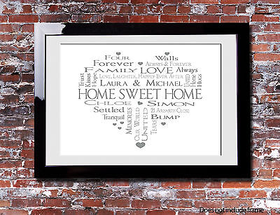 Personalised NEW HOME Family NEW HEART Picture Print Gift Canvas Wall Word Art