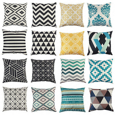 Vintage Geometric Cotton Linen Cushion Cover Soft Home Decor Throw Pillow Case