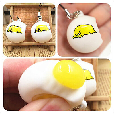 Novelty Fun Lazy Egg Gudetama Squeeze Reliever Stress Venting Ball Pendant Toy