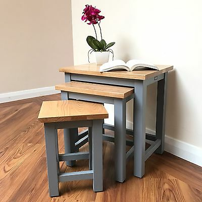 Cohebe Grey Solid Oak Top Nest Of Tables - Modern Nesting Tables - Top Quality