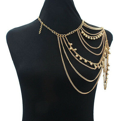 Tassels Link Single Shoulder Chain Necklace Stylish Small Bells Body Crossover F