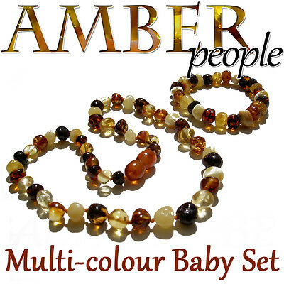 Multicolour Baltic Amber Baby Child Necklace & Bracelet Set