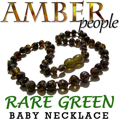 Rare Rainforest Green Baltic Amber Baby Child Necklace