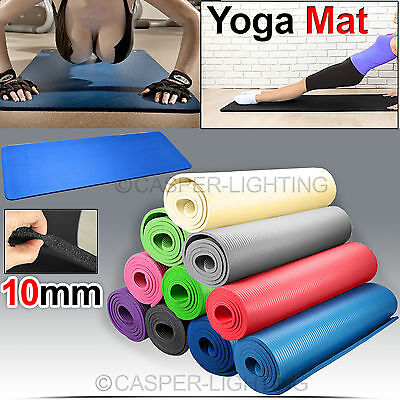 Yoga Mat Exercise Fitness Aerobic Gym Pilates Camping Non Slip 10mm Thick Physio