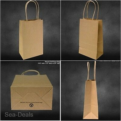 Kraft Paper Bags Gift Shopping Brown Handle Merchandise Recycled Small 50pcs