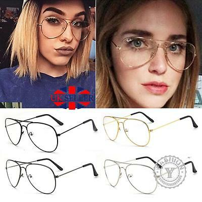 UK Vintage Classic Fashion Pilot Aviator Sunglasses Clear Lens Glasses Geek Hot