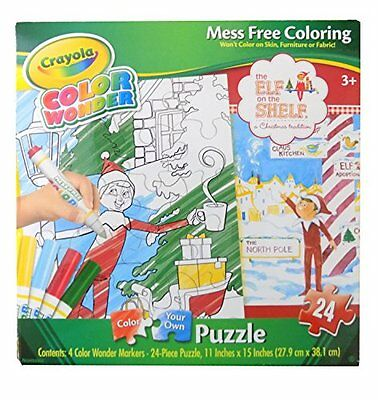 New Crayola Color Wonder Mess Free Coloring, Elf On Shelf, 24PC Puzzle Jigsaw