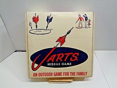 Vintage Jarts Missile Game Lawn Darts Box, & insert ONLY VERY NICE!