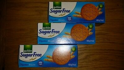 3 x (400g) Packs Gullon Sugar Free Digestive Biscuits Suitable for Diabetics