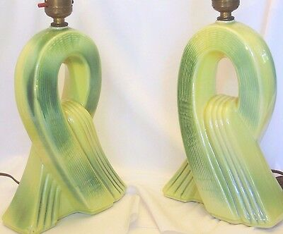 Mid Century Art Deco Ceramic Table Lamps, Fluid Form, Chartreuse