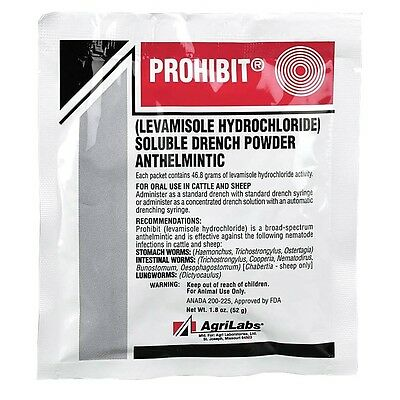 PROHIBIT Oral Dewormer Water Soluable Drench Powder Sheep Cattle 52gm Packet