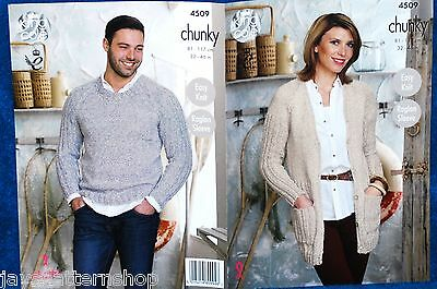 Ladies Mans Chunky Knit Easy Knit Cardigan Sweater Knitting Pattern 32 - 46 Inch