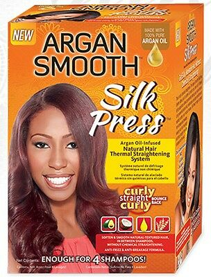 Argan Smooth Silky Press Natural Hair Thermal Straightening System