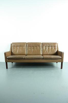 Retro Danish Thams Brown Leather 3 Seater Sofa Vintage #1889