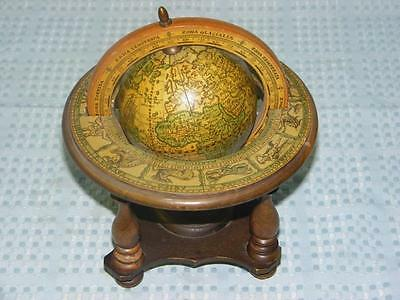 Vintage Zodiac Globe, wood, spinning, desk, table top  - Made in Italy
