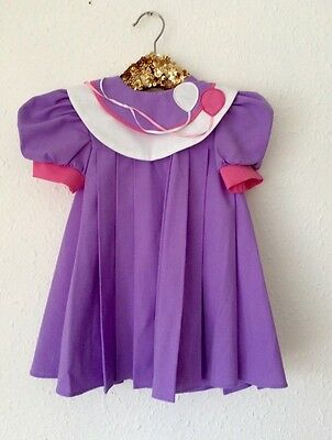 Vintage Purple Pink Baby Girls Party Pleated Balloon Dress & Beret Set 6-12 M