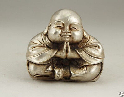 Chinese Old White Copper Handwork Carving Monk Buddha Statue Lucky