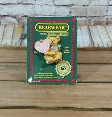 Vintage Boyds Bears BEARWEAR Special Occasion Edition Brooch Pin NEW Hugs & Kiss