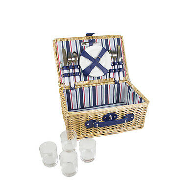 4 person Wicker Picnic Basket With Natural Finish - Yellowstone