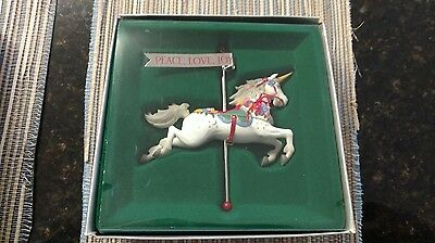 1986 Enesco Carousel Unicorn Series Rocking Horse Handcrafted Ornament