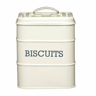 Living Nostalgia Antique Cream Vintage-Style Painted Steel Lidded Biscuit Tin