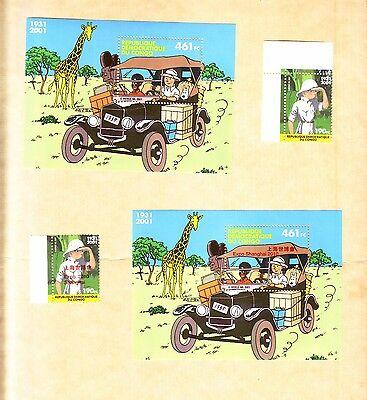Congo Tintin Normal And Rare Surcharged Stamps And Sheets 2001 - 2010