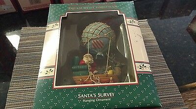 1988 Enesco Santa's Survey Blimp Hot Air Balloon Handcrafted Ornament