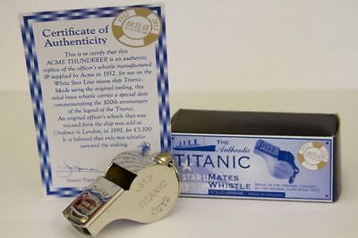 Real ACME Thunderer Nickel Titanic Mates Whistle RMS Authentic with Cert NEW