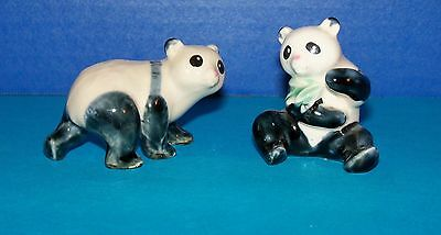 Vintage Porcelain-Panda Bears-Pair Approximate 2 1/2 Inches Each  (S)