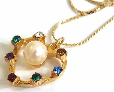 Vintage 1980s Colourful Rhinestone & Glass Pearl HEART Pendant & Chain NECKLACE