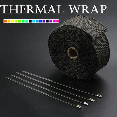 """Black Manifold Header Exhaust Thermal Heat Tape Wrap + Ties 2"""" x 50FT Fit Ford"""