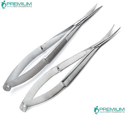 "2 Pcs Micro Curved Straight Eye Scissor 4.5"" Castroviejo Surgery Ophthalmic Tool"