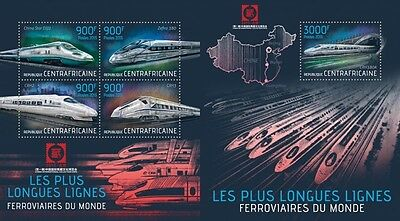 CA13420ab Central Africa 2013 trains trains MNH SET