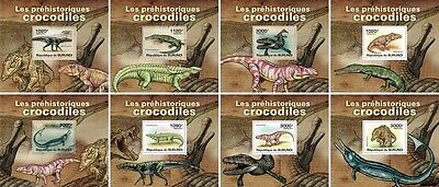 Z08 Imperforated BURdelux16 BURUNDI 2012 Crocodiles 8 x s/s MNH