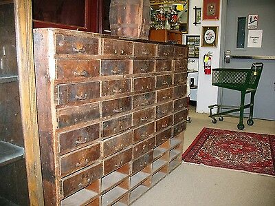 Large 5' Antique Primitive Hardware Store Cabinet With 36/50 Individual Drawers