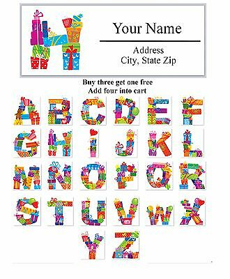 30 Personalized Address Labels Christmas MONOGRAM Buy 3 get 1 free (AC596)