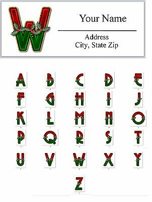 30 Personalized Address Labels Christmas MONOGRAM Buy 3 get 1 free (AC588)